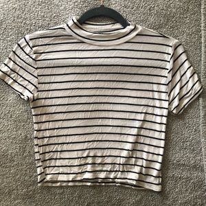 Striped Cropped T shirt